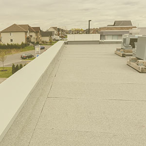 Elastomer membrane roof on flat roof of McDonald de Mercier by Couvreurs Dubuc